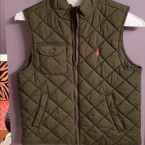NWOT Polo Quilted Vest. Army green